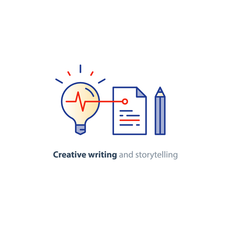 article writing: Creative writing and thinking concept, storytelling idea lightbulb, vector mono line icons