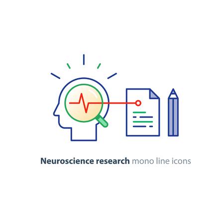 Recherche en neurosciences, étude de travail du cerveau, concept de l'éducation de la psychologie, icône de vecteur