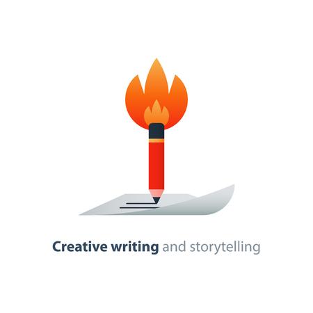 Creative writing, burning pencil, storytelling concept, copy writing idea, vector flat design illustration Illustration