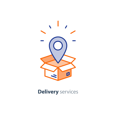 Delivery services, opened box, logistics and transportation, relocation concept, cargo shipment, distribution vector mono line icon Illustration