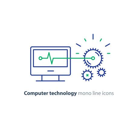 Technologie de l'ordinateur, développement de logiciels, concept d'ingénierie, services de programmation et de codage, mécanisme de roue dentée, icône de ligne de vecteur