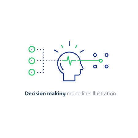 Decision making architects, choice tree, marketing concept, psychology and neuroscience, mindset, vector mono line icon Stock Vector - 75443132