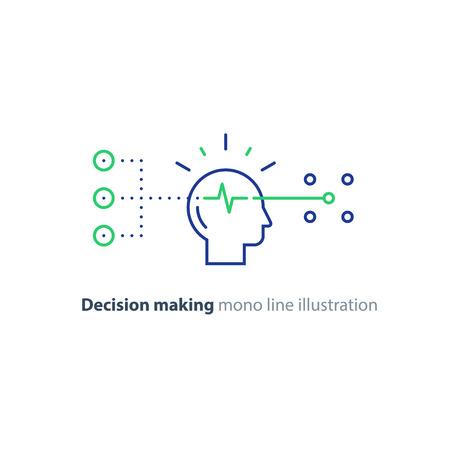 La toma de decisiones arquitectos, el árbol de elección, el concepto de marketing, la psicología y la neurociencia, la mentalidad, vector mono icono de línea