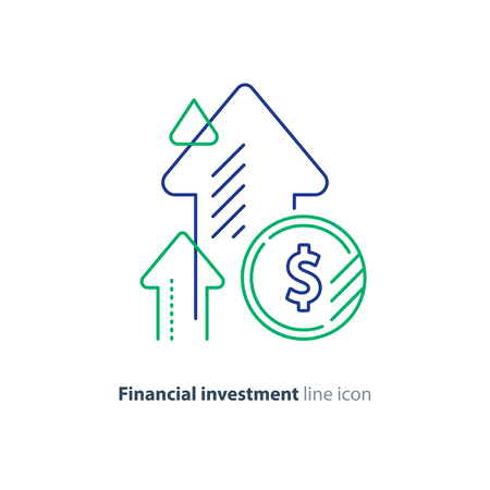 Financial growth, investment strategy plan, fund rising campaign, arrows and coin, vector mono line icon Vector Illustration