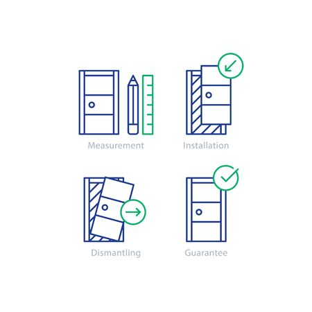 ready logos: Door installation services, replacement steps, vector mono line icons set Illustration