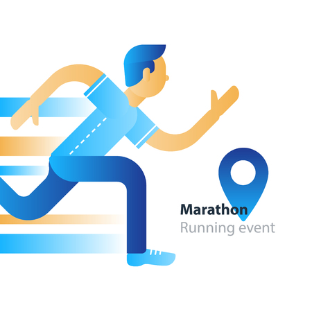 Marathon event with a running man in motion vector flat design illustration Illustration