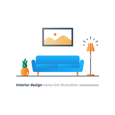 modern living room: Living room interior design, sofa and floor lamp, picture and plant pot, minimalist style, vector flat illustration Illustration