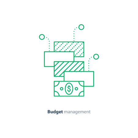 financial diversification: Financial diversification, finance investment, budget planning, investment portfolio, money consolidation concept, vector mono line icon