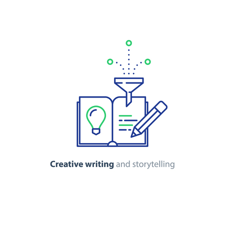 compile: Creative writing concept, storytelling, content management, assay composition, education book, vector mono line icons