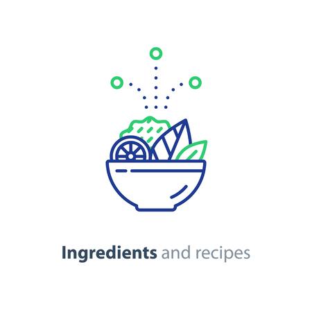 Voedsel schotel recept, voedingsconcept, salade ingrediënten, vector mono lijn pictogram