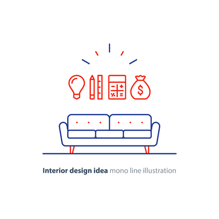 parameters: Interior design idea, sofa icon, renovation cost calculation, order furniture, project budget, vector flat illustration Illustration