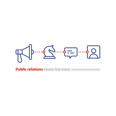 Social media marketing and promotion concept, megaphone flat icon, public relations vector illustration Illustration