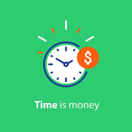 Tijd is geldconcept, klok en muntstuk, financiële investering op lange termijn, besparing van superannuatie. Stock Illustratie