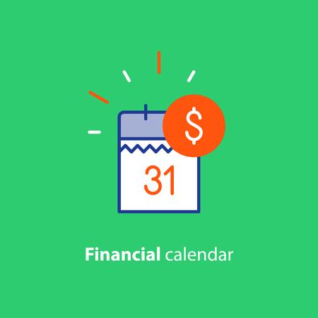 財務カレンダー、年次の支払日、月次予算計画、固定期間の概念。  イラスト・ベクター素材