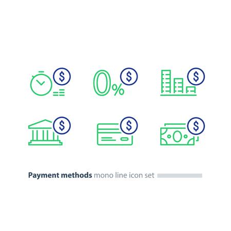 Payment methods, financial items set, zero percent commission fee, credit card money transaction.