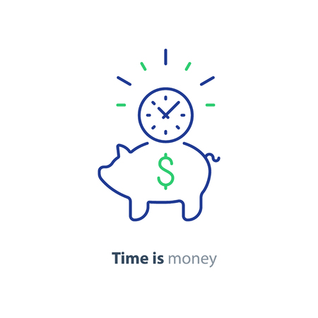 Piggy bank concept, time is money, long term investment, savings account deposit.