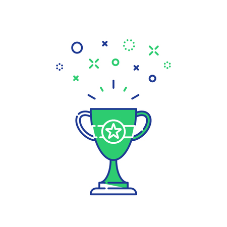 Celebration winner cup, first place award mono line icon, best results on performance. Illustration