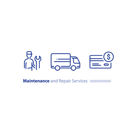 Maintenance and repair services, repairman with spanner, installation worker, technical engineer, delivery truck.