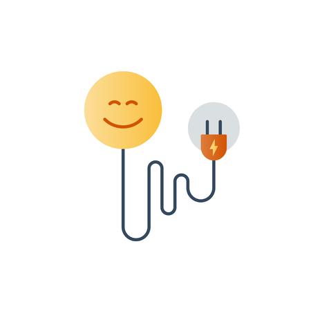 Good mood concept, psychology, happy face, pisitive attitude