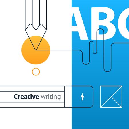 Escribir el icono del concepto de educación. Cuenta de historia creativa. Ilustración de vector de diseño plano
