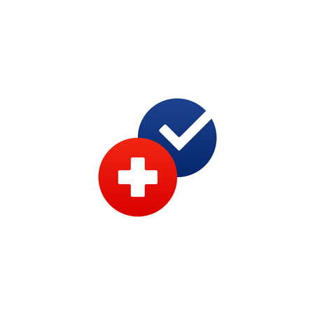Health care and medicine services round icon and logo, doctor consulting. Flat design elements vector illustration Illustration