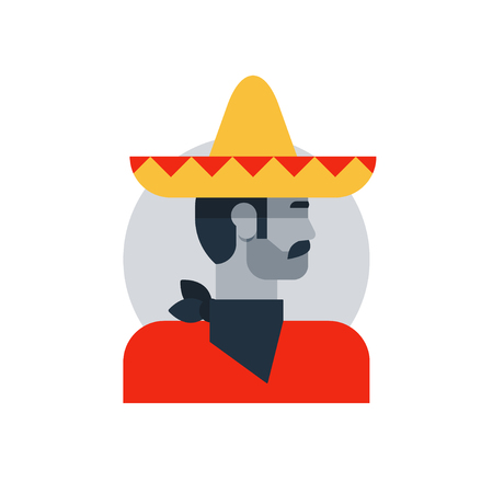 Mexican man in sombrero and poncho, side view turned head, male character turned head. Flat design vector illustration.