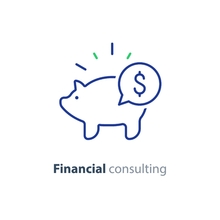 Financial advisory, business consulting, investment assistance, finance guidance, piggy bank, vector mono line icon