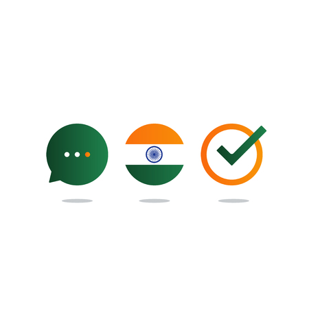 Indian language class concept icon set and flag logo, language exchange program, forum and international communication sign. Flat design vector illustration Illustration