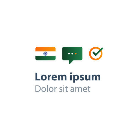 Indian language class concept icon set and flag logo, language exchange program, forum and international communication sign. Flat design vector illustration Logo