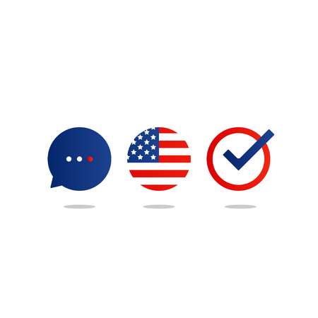 fluency: USA English language class concept icon set and flag logo, language exchange program, forum and international communication sign.