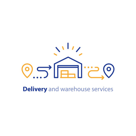 depository: Wholesale warehouse distribution center concept, delivery supply chain solution and transportation services logo elements, shipping order line icon, tracking location outline vector