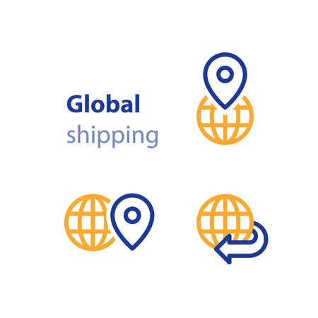 globally: International shipment, global shipping program, delivery services, tracking order, globally transportation business vector line icon