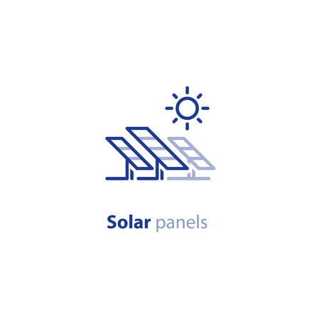 Renewable energy, solar panels station concept, green electricity, vector line icon Illustration