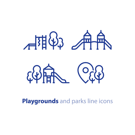 Playground and park location concept, outdoor activities for kids, vector line icon