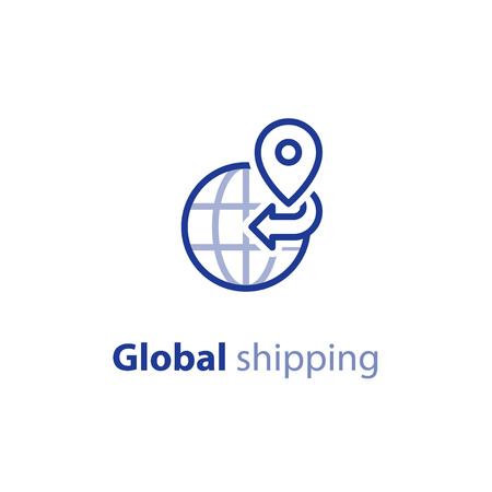 distant: International shipment, global shipping program, delivery services, tracking order, globally transportation business vector line icon
