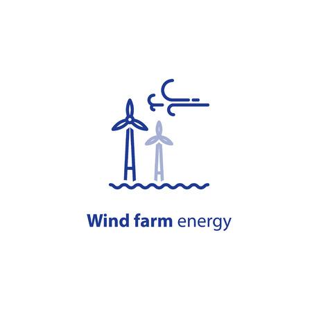 바람 농장 에너지 개념, 해상 풍력 터빈, 녹색 전기 벡터 라인 아이콘