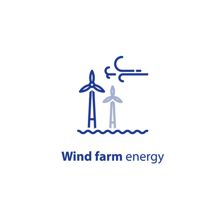Wind farm energy concept, offshore wind turbines, green electricity vector line icon