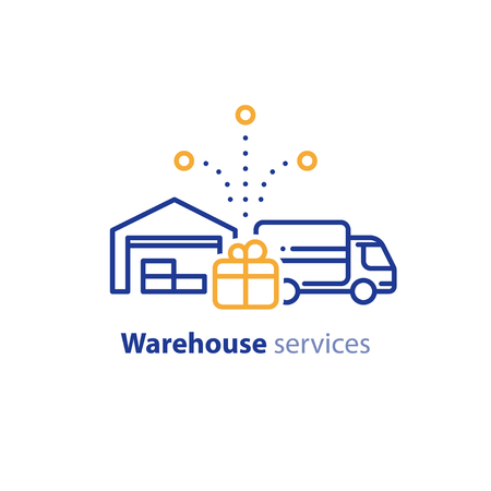 truckload: Warehouse distribution solution concept, truck delivery services and transportation company logo elements, shipping multiple order line icon, combined parcel outline vector