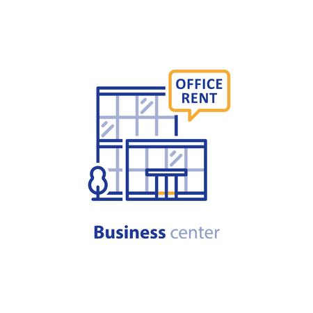 Geschäftsbüromitte, Mietangebot, Vektorlinie Ikone Standard-Bild - 81878348
