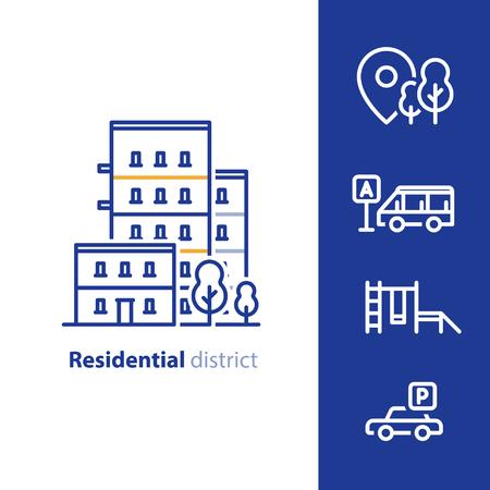 Services immobiliers, quartier résidentiel, immeuble d'habitation, concept de quartier, installations et aménagements, icônes de la ligne de groupe de maisons