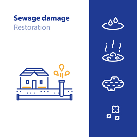 Sewage damage, pipes break, water leakage, house repair and cleaning services, overflow vector line icon Ilustração