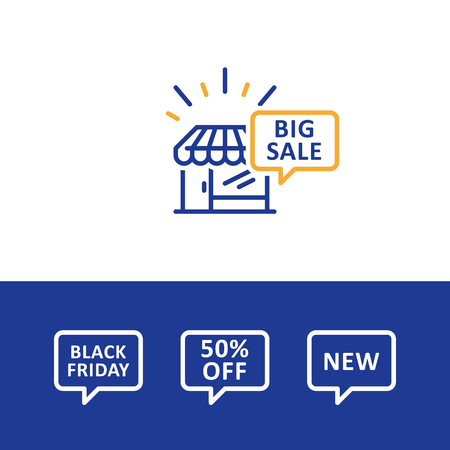 comerce: Shopping big sale, black Friday announcement, speech bubble, promotion, vector line icon Illustration