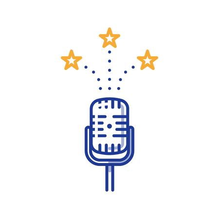Podcasting en uitzending concept, komedie show, podium prestatie microfoon, vector lijn illustratie Vector Illustratie