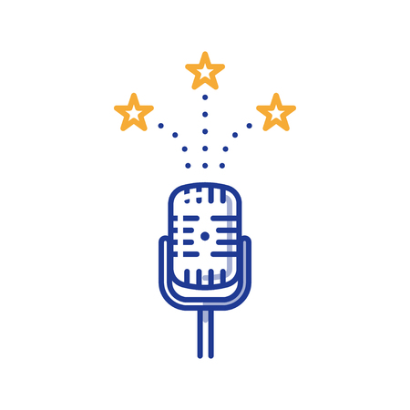 Podcasting and broadcasting concept, comedy show, stage performance microphone, vector line illustration