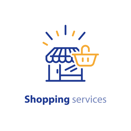 comerce: Shop line icon, shopping basket, make order Illustration