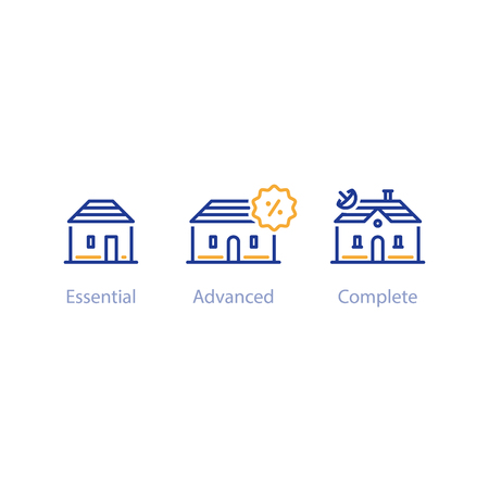 Upgrade or improvement concept, small and big houses comparison, three options, best choice, vector line icons