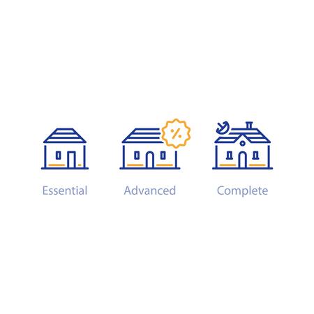 Upgrade- of verbeteringsconcept, vergelijking van kleine en grote huizen, drie opties, beste keuze, vectorlijnpictogrammen