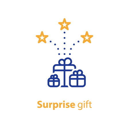 별, 축 하 개념, 깜짝 수상, 벡터 라인 아이콘 선물 상자