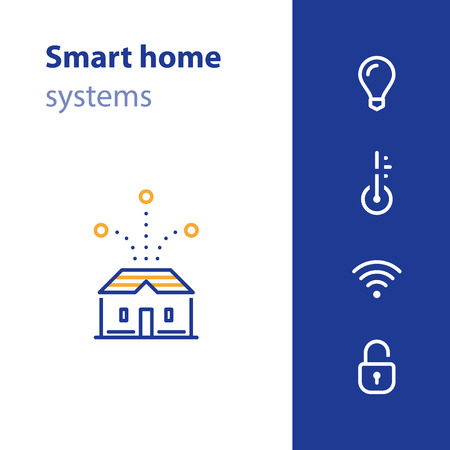 Smart home systems, house control concept, improvement solution, vector line icon Illustration