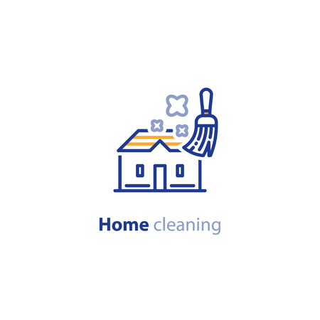 Home cleaning services, housekeeping concept, vector line icon